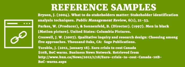 reference samples citation
