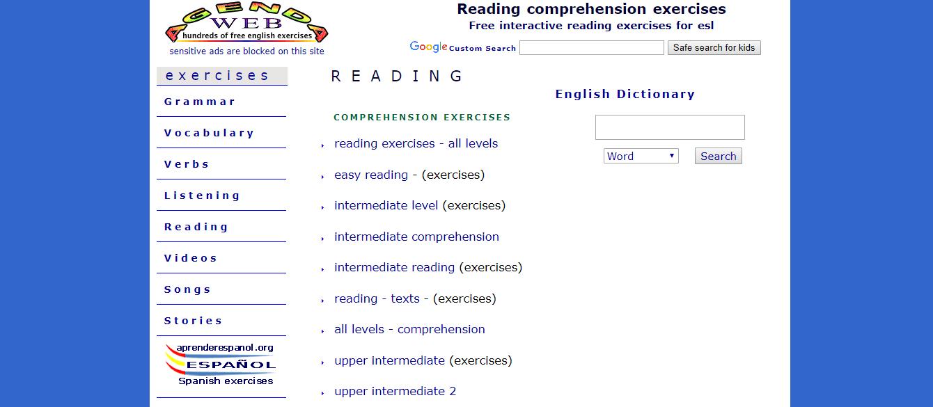 Agenda Web ESL exercises for reading