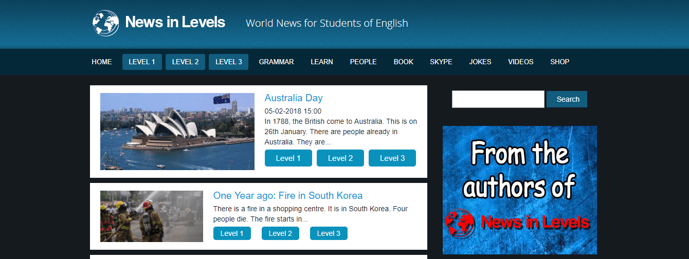 News in Levels - World news for students in English website.
