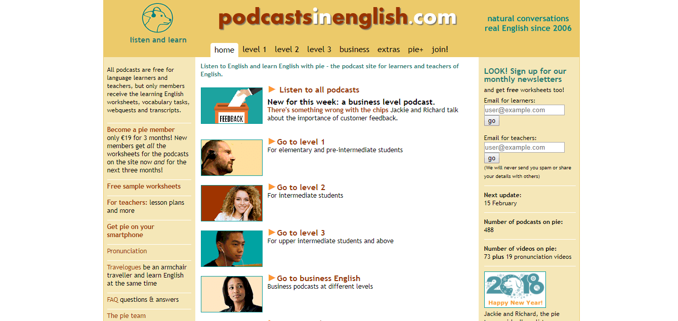 Podcasts in English - ESL website