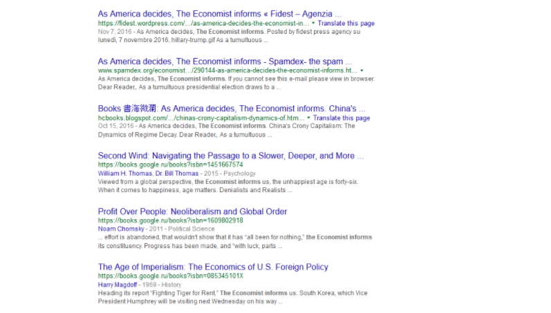 Citations of the Economist on the google search result page