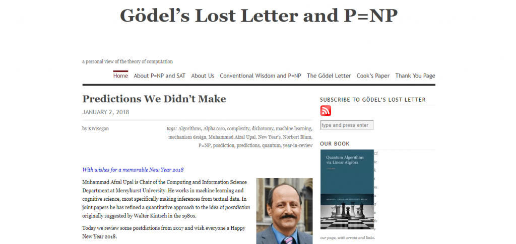 gödel's lost letter and p=np blog