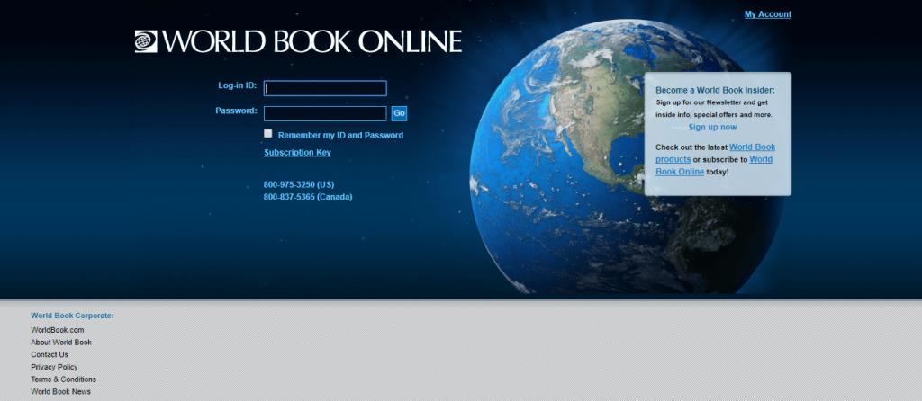 world book online website screenshot