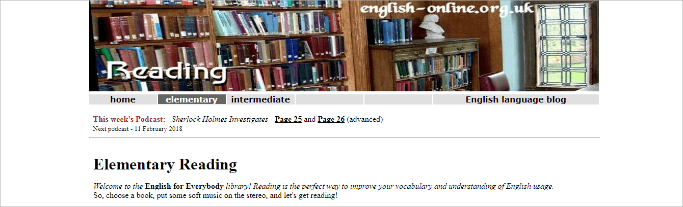 English Online website - books with ESL vocabulary comments.