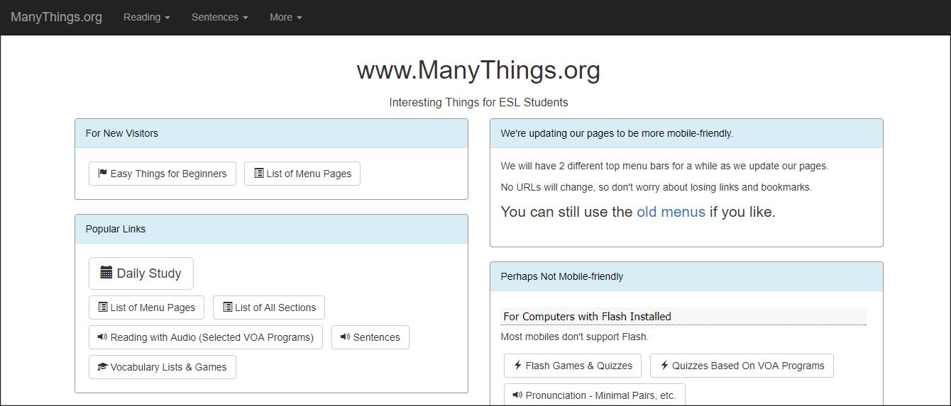ManyThings.org - ESL listening website.